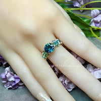 Peacock Mystic Topaz, Rainbow Blue Mystic Topaz Handmade Ring Sterling Silver US Size 5.5