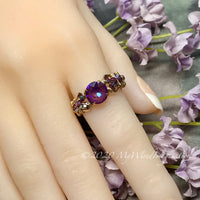 Burgundy-DeLite Ring, Genuine Swarovski Crystal, Handmade Ring, 14K GF US Size 8.5