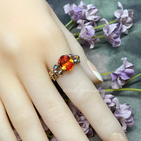 Bright Tangerine Orange, Sapphire Padparadscha CZ, Handmade Ring, with Swarovski Crystal, Handmade Ring, Made to Order