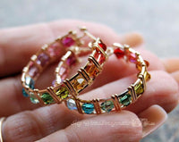 Multi-Colored Crystal Hoop Earrings