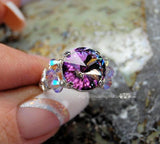 Swarovski Vitrail Light Crystal Handmade Ring in Sterling Silver US Size 6