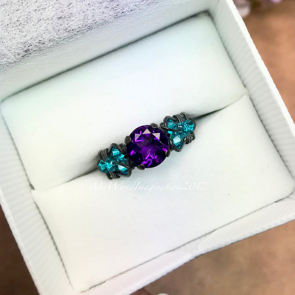 AAA Royal Amethyst, Solid Sterling Silver, Handmade Wire Wrapped Ring, Dark Amethyst & Blue Zircon