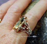 LAST One, Golden Shadow, Swarovski Crystal, Handmade Ring, Sterling Silver, US Size 7.5