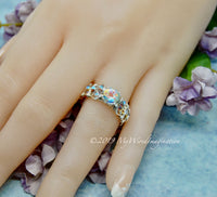 Opalescent Mystic Topaz Ring, Petite Mercury Mystic Topaz, Handmade Ring, Sterling Silver US Size 8