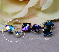 Vintage Swarovski Crystal, 8mm Square Checkerboard, Crystal AB Bermuda Blue or Heliotrope
