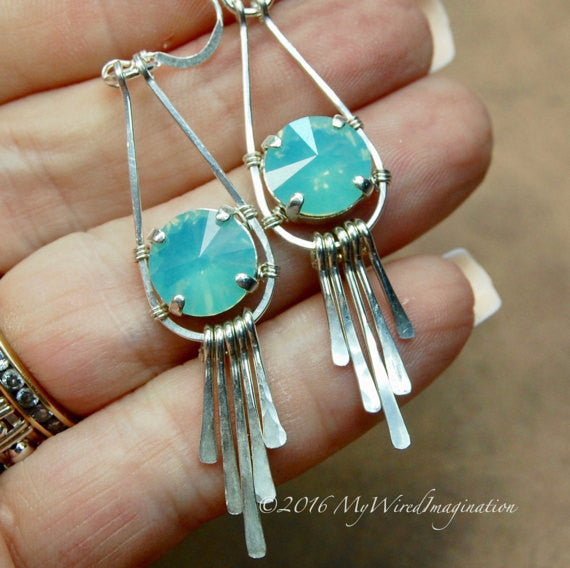 NEW Hammered Crystal Earring, Wire Wrap Earring Tutorial