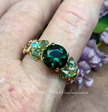 Hydrothermal Green Quartz Handmade Ring in 14K GF Size 10.5