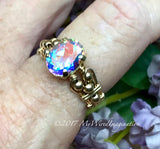 Oval Opalescent Topaz, Hand Crafted Wire Wrapped Ring, Mercury Mist Topaz Ring