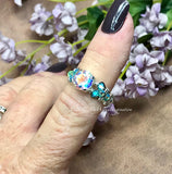 Mercury Mystic Topaz, Opalescent Topaz, Handmade Ring Sterling, Silver US Size 5.5