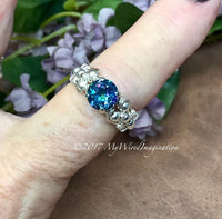 Genuine Mystic Topaz, Rainbow Blue Mystic Topaz Handmade Ring Sterling Silver US Size 7