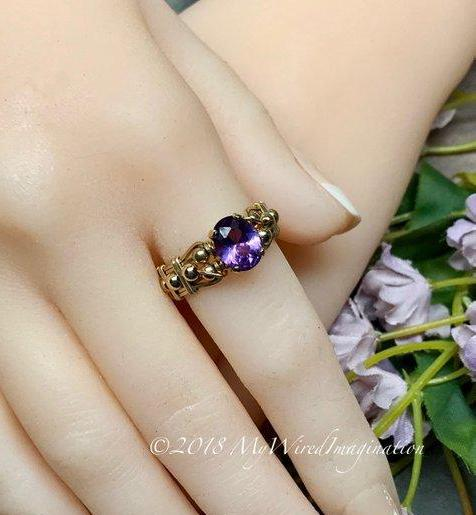 14K GF Alexandrite Color Change Stone Hand Crafted Wire Wrapped Ring