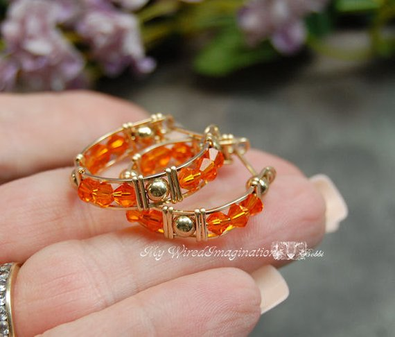 Handmade Crystal Hoop Earrings in Swarovski Sun Orange and 14K GF Wire
