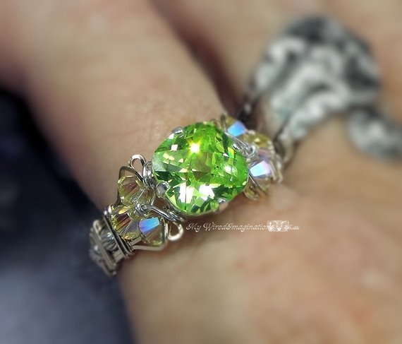 Apple Green Cz, Checkerboard faceted stone, Wire Wrapped handmade Ring
