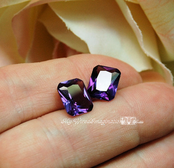 Alexandrite 10x8mm Lab Created Color Change Faceted Octagon Gemstone