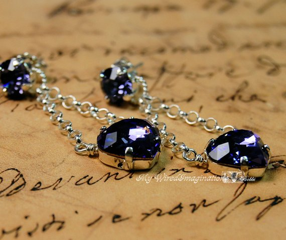 Tanzanite Handmade Earrings in Vintage Swarovski Crystal and Sterling Silver