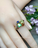 Multi-Stone Ring, Swarovski Crystal Handmade Ring 14K GF US Size 6.5