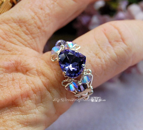 Tanzanite Swarovski Heart, Crystal Handmade Ring, Sterling Silver, US Size 9.5