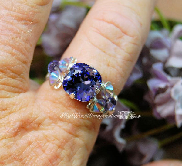 Swarovski Tanzanite Crystal Handmade Ring, December Birthstone, Sterling Silver, US Size 7