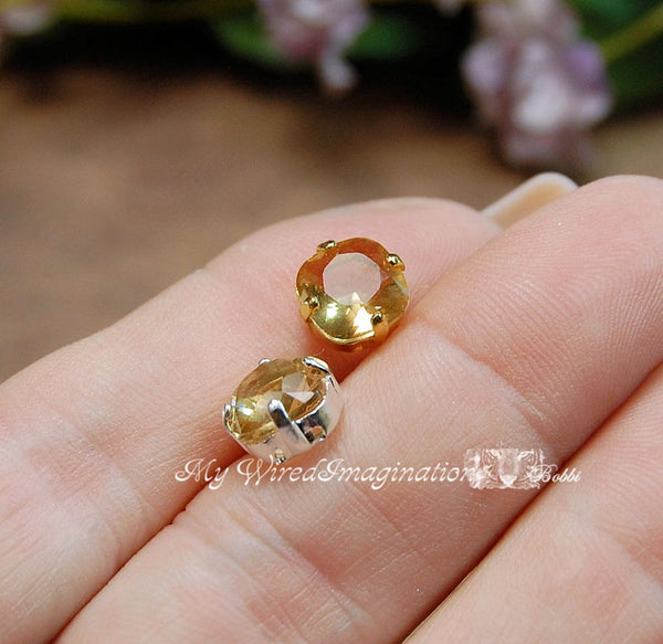 Light Colorado Topaz, 2 Pcs Cushion Cut 4470 With Setting, Vintage Crystal Sew On