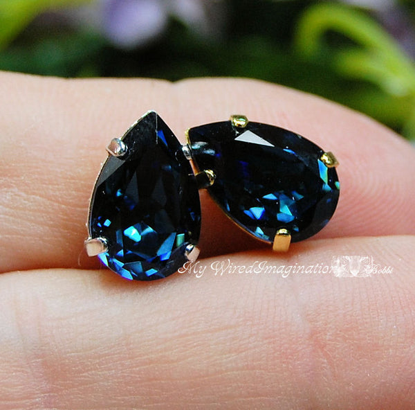 Montana Sapphire Blue Swarovski Crystal 13 x 8.5mm Pear 4320 With Prong Setting