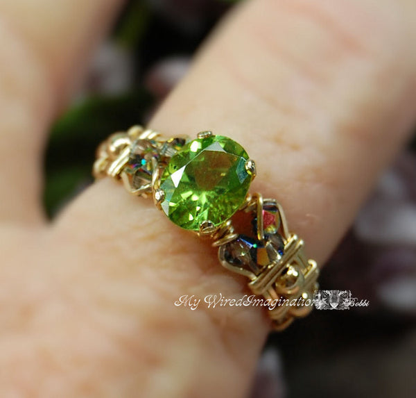 Genuine Peridot, Hand Crafted Wire Wrapped Ring, August Birthstone