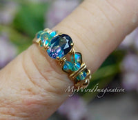 Petite Peacock Blue, Rainbow Mystic Topaz Handmade Ring, Made to Order
