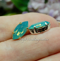 Pacific Opal, Swarovski Crystal Elements, 15x7mm Navette Marquise Shape, Crystal with Setting