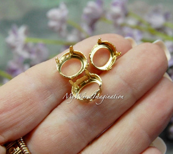 12x10mm Oval, Art 4100, Crystal Rhinestone or Gemstone Sew On Setting, Gold plated
