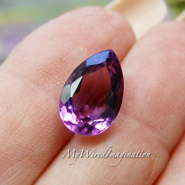 Faceted Genuine Amethyst Tear Drops, Pear Shaped Genuine Amethyst, Loose Faceted Gemstone