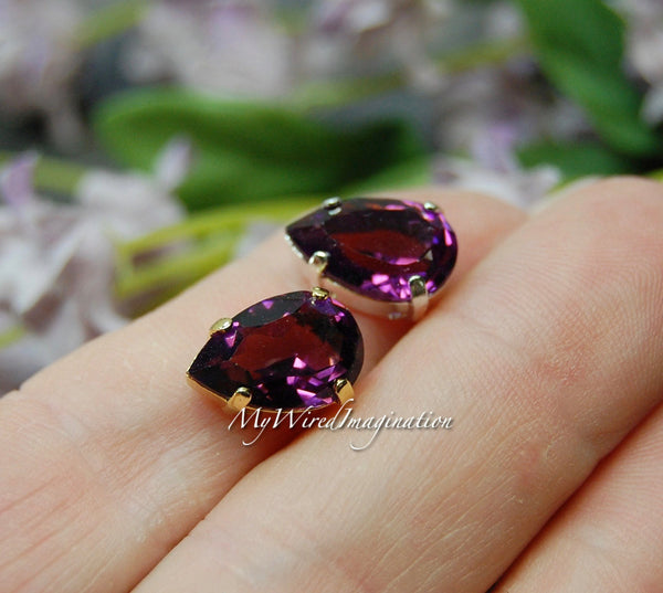 Transparent Amethyst, Swarovski Crystal 13 x 8.5mm Pear 4320, With Prong Setting