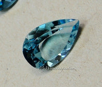 Swiss Blue Topaz, Genuine Faceted Swiss Blue Topaz, Pear Shape Cut, Loose Gemstone