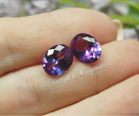 Alexandrite, Lab-Grown Faceted Gemstone, 11x9 Oval, Silver or Gold Plated Setting