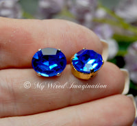 Royal Blue Sapphire, 4120 Vintage Swarovski Crystal, 12x10mm Oval with Settings