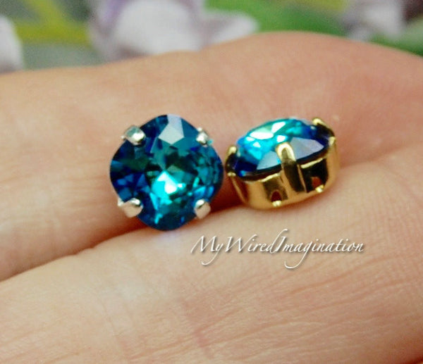 Bermuda Blue, Vintage Swarovski Sew On, Swarovski 8mm Fancy Art 4470