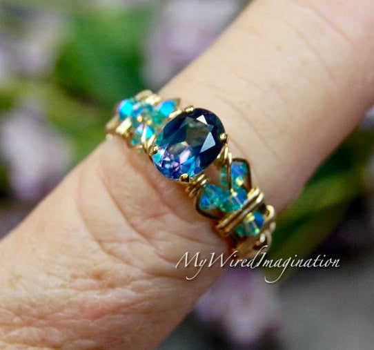 Petite Peacock Blue, Rainbow Mystic Topaz Wire Wrapped Ring