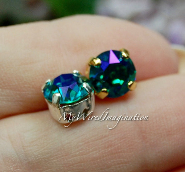 Blue Zircon Glacier Blue, Genuine Swarovski, 2 Pcs 39ss/8mm Crystals in Settings