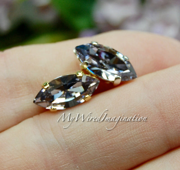 Smokey Mauve, Swarovski Crystal Elements, 15x7mm Navette with Prong Setting
