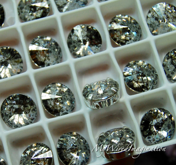 Swarovski Crystal Silver Patina, 1122 Rivoli 10mm, With Setting