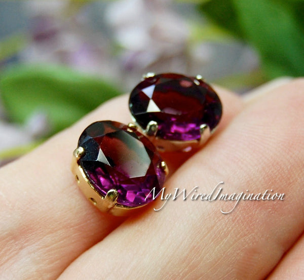 Amethyst, Transparent Vintage Swarovski Crystal, 2 Pieces 12x10mm Oval 4120 with Setting