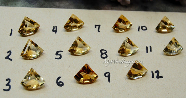 Faceted Genuine Citrine, Fan Shape, Designer Shape Citrine, Loose Faceted Gemstone