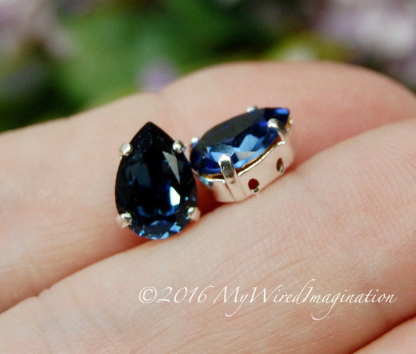 Swarovski Montana, Dark Sapphire Blue, 2, 4 or 6 pcs 10x7mm, 4320 Pear Shape with Setting