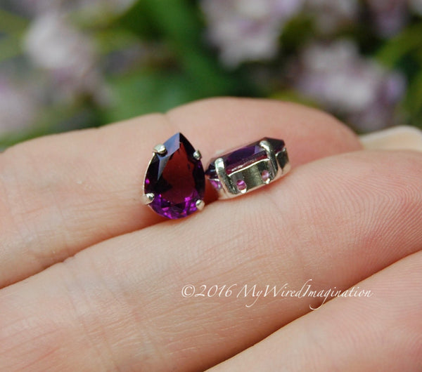 Swarovski Amethyst, Transparent 10x7mm, 2 Pieces, 4320 Pear Shape with Setting
