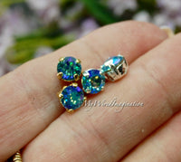 Aquamarine Glacier Blue, Swarovski Crystal, 29ss 6mm Crystal Chaton with Setting