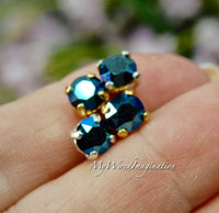 Metallic Blue, Swarovski Crystal, 29ss 6mm Crystal Chaton with Sew On Setting