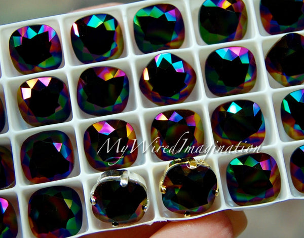 Swarovski Rainbow Dark, 10mm Cushion Cut Square 4470 with Setting
