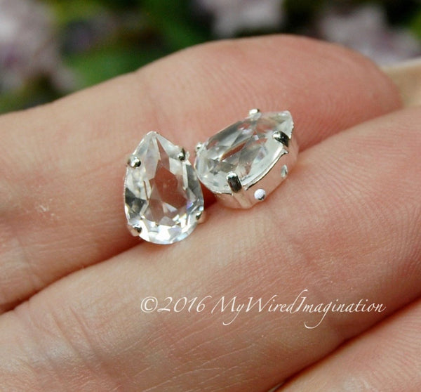Vintage Swarovski Crystal Clear, Transparent 10x7mm, 2 or 4 Pieces, 4320 Pear Shape