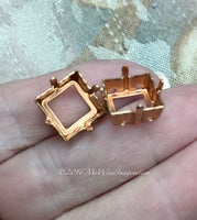 Brass & Silver Plated Sew On Setting, 2 Pieces for 12mm 4400 or 4410 Squares