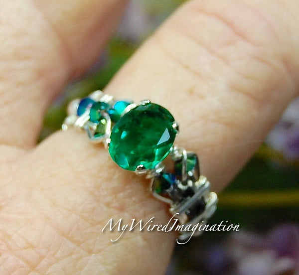 Green Topaz, Handmade Ring, Genuine Green Topaz Sterling Silver US Size 7.5
