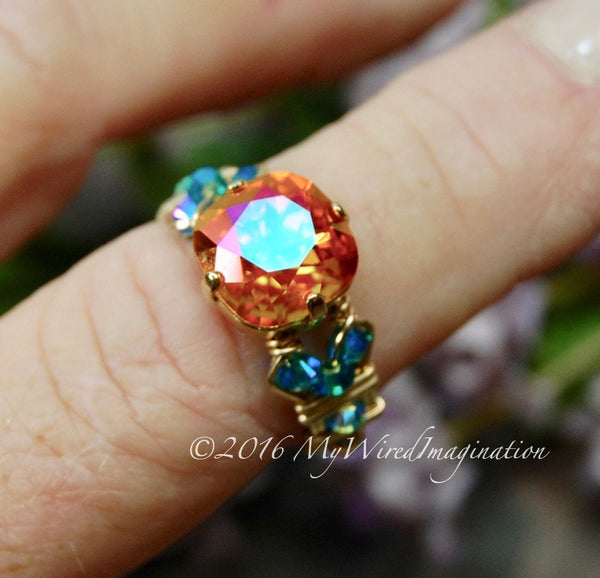 Fiery Astral Pink, Swarovski Crystal, Handmade Ring, Made to Order
