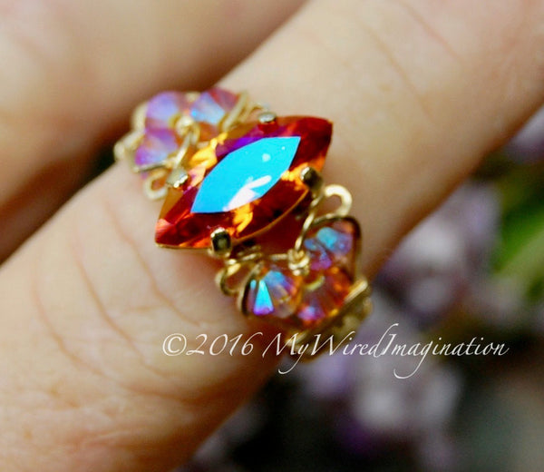 Astral Pink Swarovski Crystal Handmade Ring, Made to Order